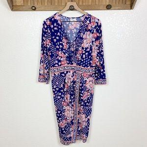Beige by Eci Floral Surplice Faux Wrap Midi Dress